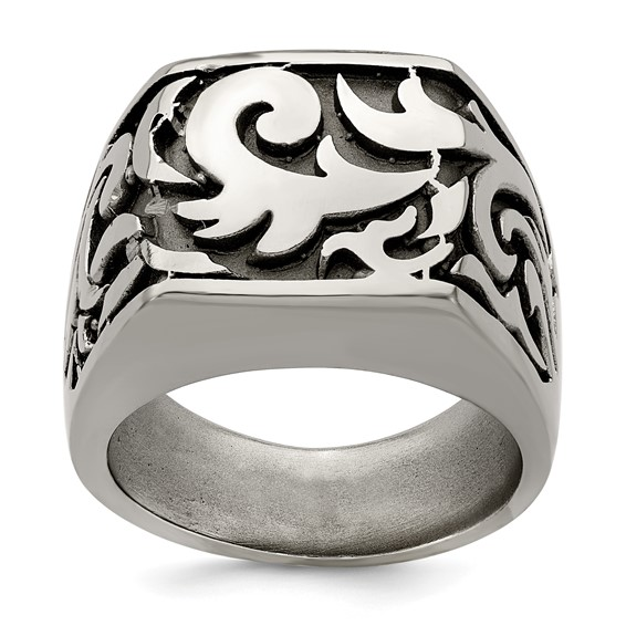 Edward Mirell Gray Cast Titanium Signet Ring with Tribal Design