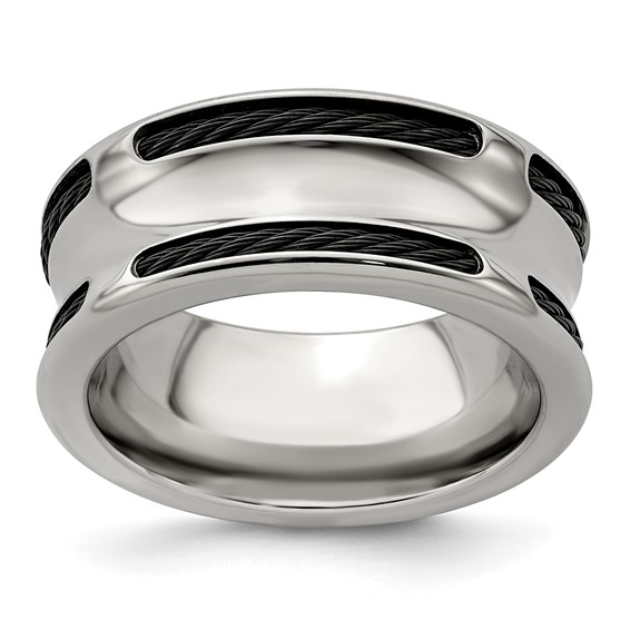 Edward Mirell 10mm Titanium & Stainless Steel Cable Concave Ring