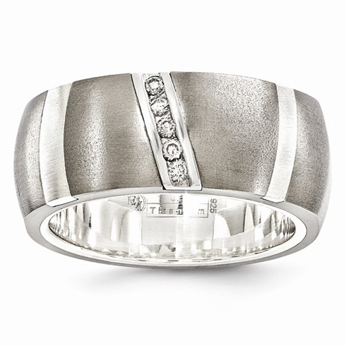 Edward Mirell 10mm Titanium Sterling Silver .10ct Diamond Rapture Ring