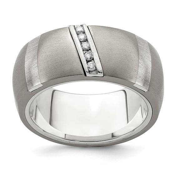 Edward Mirell 10mm Titanium & Sterling Silver .10 ct Diamond Rapture Ring