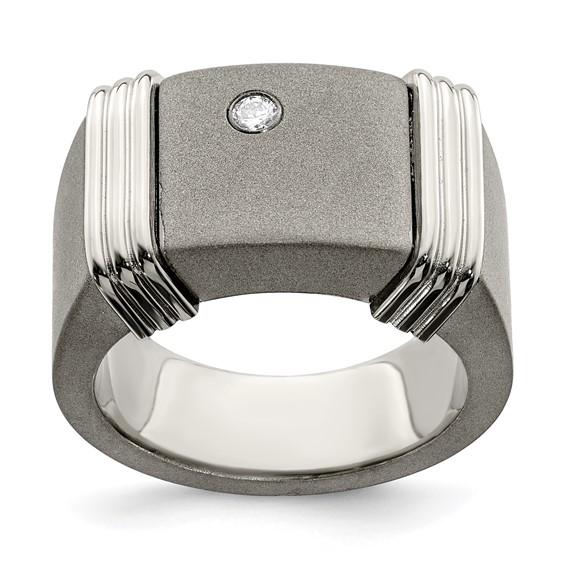 Edward Mirell Titanium & Argentium Sterling Silver Diamond Signet Ring