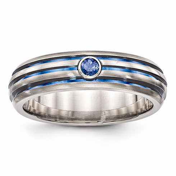 Edward Mirell Titanium Blue Triple Groove Blue Sapphire Ring