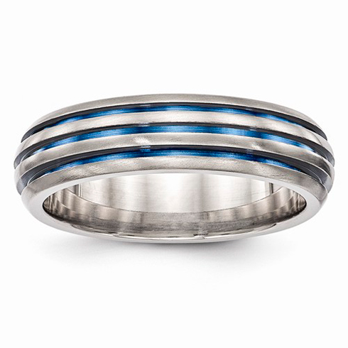 Edward Mirell Titanium Triple Groove Blue Anodized Ring