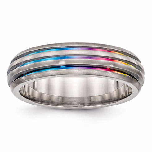 Edward Mirell Titanium Triple Groove Multi-color Anodized Ring
