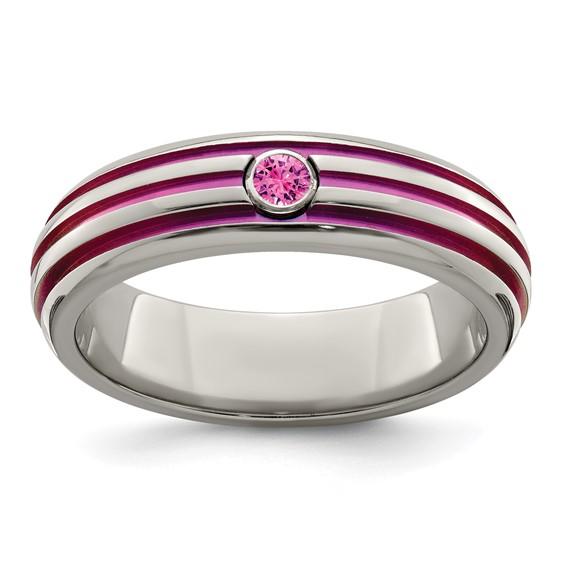 Edward Mirell Titanium Pink Groove Pink Sapphire Ring