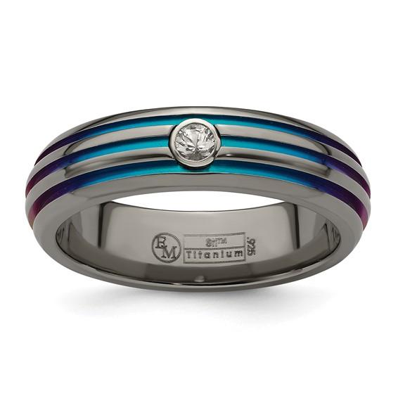 Edward Mirell Titanium Multicolor Groove White Sapphire Ring