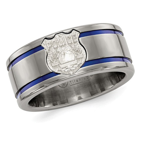 Edward Mirell 10mm Titanium Police Badge Ring with Blue Lines