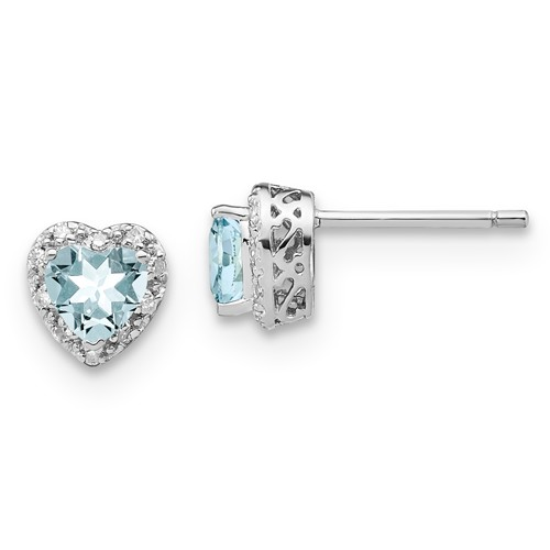 Sterling Silver 0.86 ct Aquamarine Heart Earrings with Diamonds