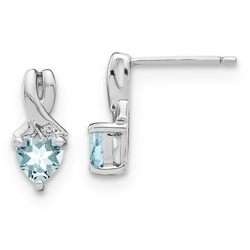 Sterling Silver 0.9 ct tw Heart Aquamarine Earrings with Diamonds