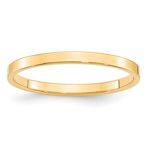 14kt Yellow Gold 2mm Flat Wedding Band