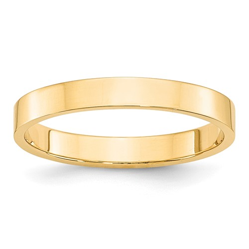 14kt Yellow Gold 3mm Flat Wedding Band