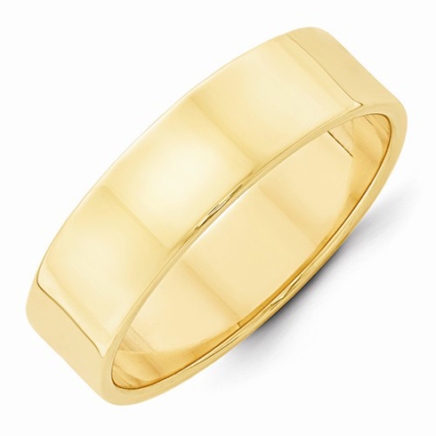 14kt Yellow Gold 6mm Flat Wedding Band