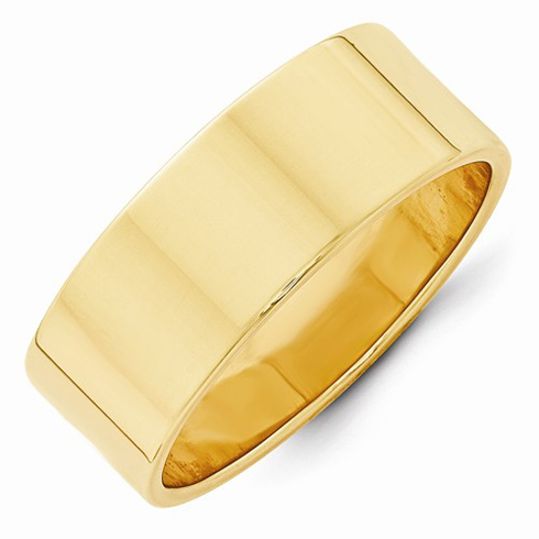 14kt Yellow Gold 8mm Flat Wedding Band