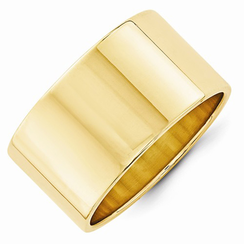 14kt Yellow Gold 12mm Flat Wedding Band