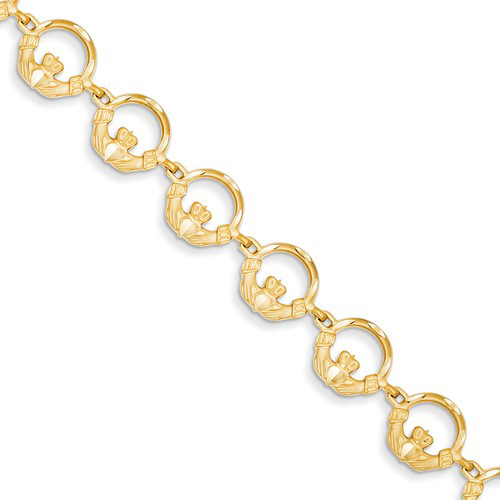 14kt Yellow Gold 7in Claddagh Charm Bracelet