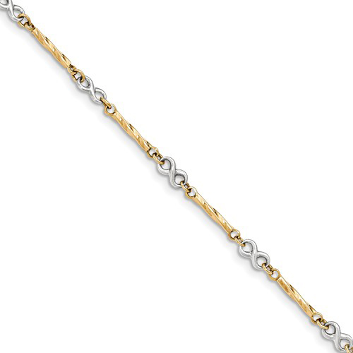 14kt Two-tone Gold 7 1/2in Infinity Bar Link Bracelet