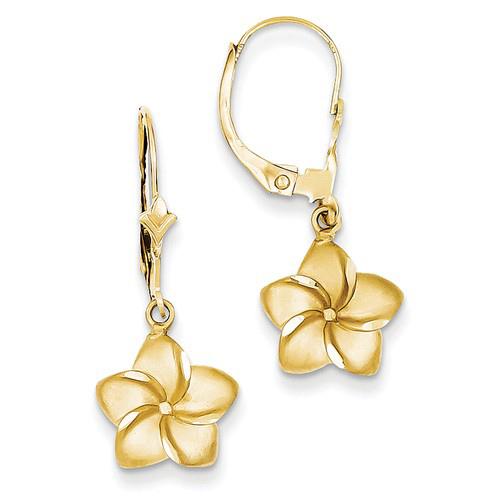 14kt Yellow Gold Plumeria Flower Leverback Earrings