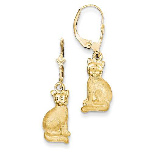 14kt Yellow Gold Sitting Cat Leverback Earrings