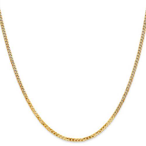14kt Yellow Gold 18in Beveled Curb Chain 2.2mm