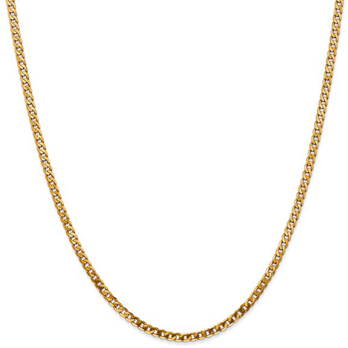 14kt Yellow Gold 24in Beveled Curb Chain 2.4mm