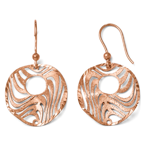 Sterling Silver Rose Gold-plated Shepherd Hook Earrings