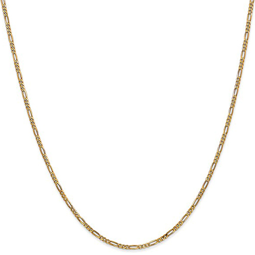 14kt Yellow Gold 9in Flat Figaro Anklet 1.8mm