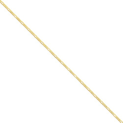 14kt Yellow Gold 18in Flat Figaro Chain 2.25mm