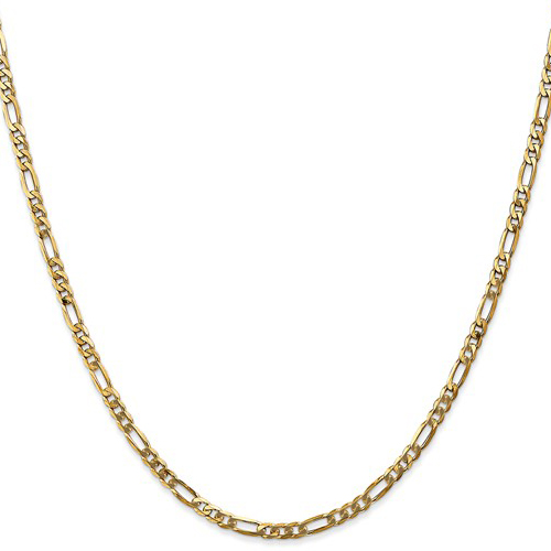 14kt Yellow Gold 24in Flat Figaro Chain 3.25mm