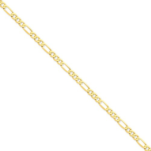 14kt Yellow Gold 7in Flat Figaro Bracelet 5.25mm