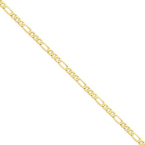 14kt Yellow Gold 8in Flat Figaro Bracelet 5.25mm