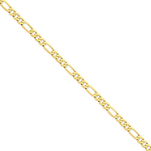 14kt Yellow Gold 24in Flat Figaro Chain 6.25mm
