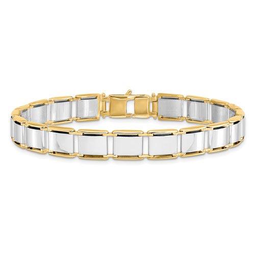 14k Two-tone Gold Men's Italian Brushed Panel Link Bracelet 8.25in