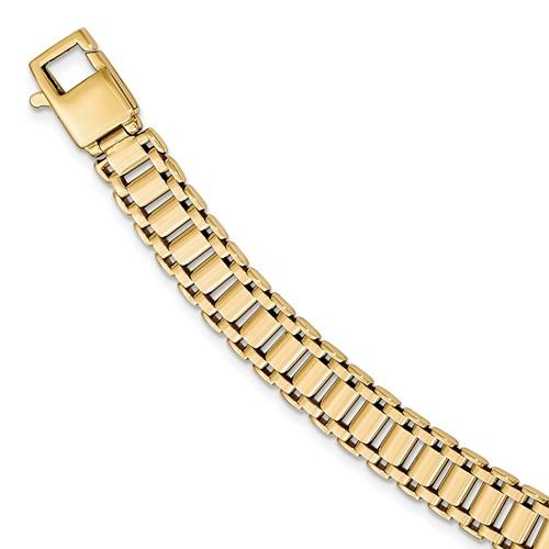 14k Yellow Gold Men's Italian Railroad Link Bracelet 8.5in