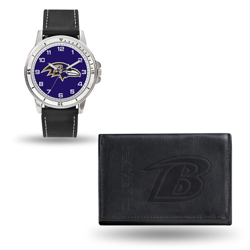Baltimore Ravens Black Faux Leather Watch and Wallet Gift Set