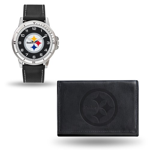 Pittsburgh Steelers Black Faux Leather Watch and Wallet Gift Set