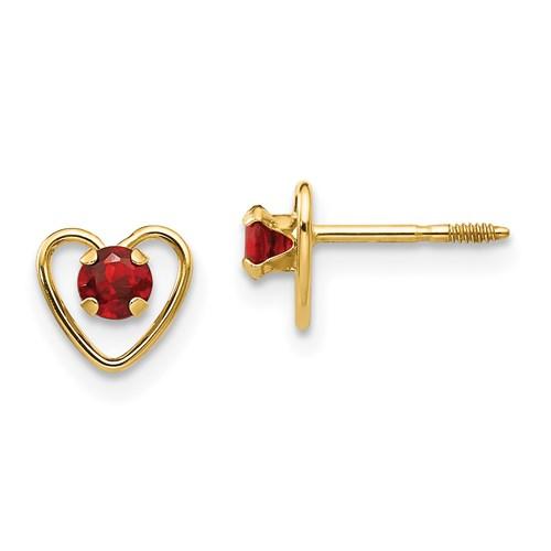 14kt Yellow Gold Madi K 3mm Garnet Birthstone Heart Earrings