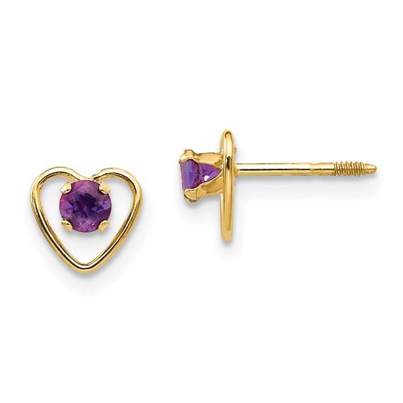 14kt Yellow Gold Madi K 3mm Amethyst Birthstone Heart Earrings