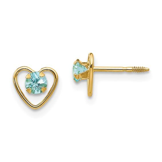 Madi K 1/5 ct tw Aquamarine Heart Earrings 14k Yellow Gold