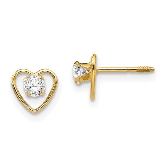 14kt Yellow Gold Madi K 3mm White Zircon Birthstone Heart Earrings