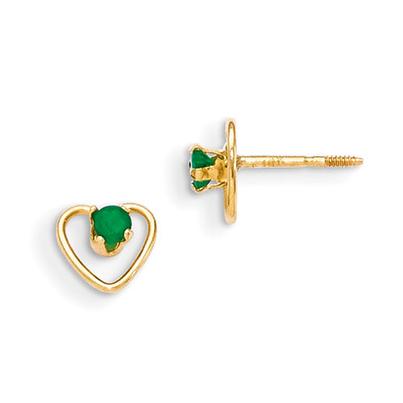 14kt Yellow Gold Madi K 3mm Emerald Birthstone Heart Earrings
