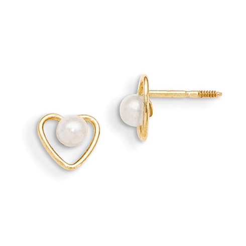 14kt Yellow Gold Madi K 3mm Pearl Birthstone Heart Earrings