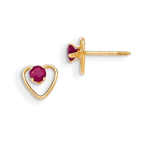 14kt Yellow Gold Madi K 3mm Ruby Birthstone Heart Earrings