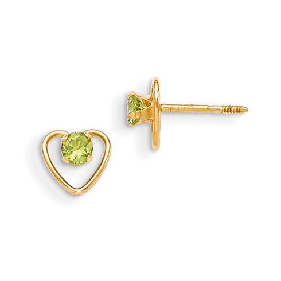 14kt Yellow Gold Madi K 3mm Peridot Birthstone Heart Earrings