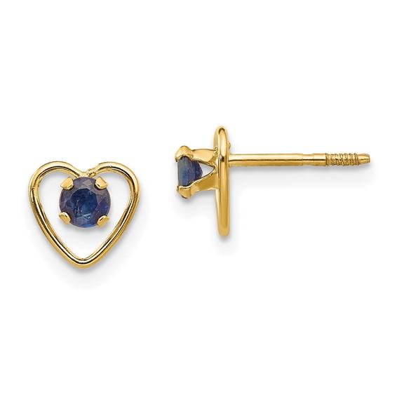 Madi K 3mm Sapphire Heart Kid's Earrings 14k Yellow Gold