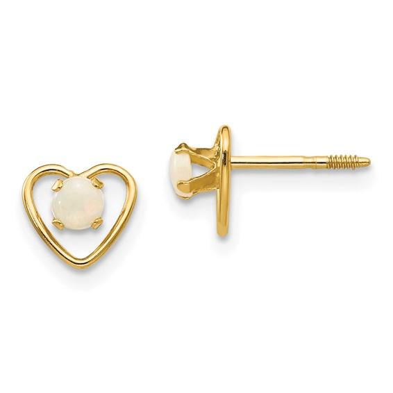 14kt Yellow Gold Madi K 3mm Opal Birthstone Heart Earrings