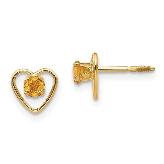 14kt Yellow Gold Madi K 3mm Citrine Birthstone Heart Earrings