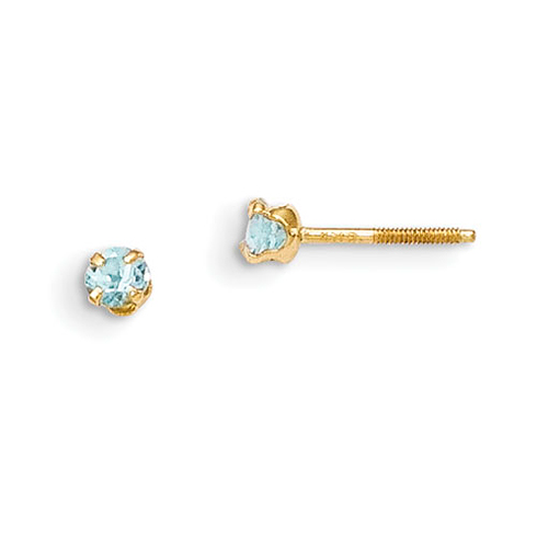14kt Yellow Gold Madi K 3mm Aquamarine Earrings