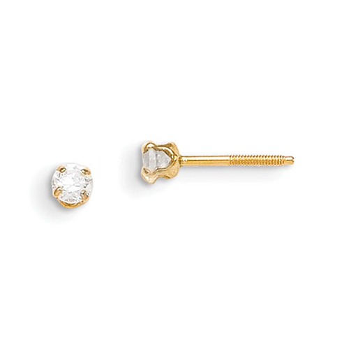 14kt Yellow Gold Madi K 3mm White Zircon Earrings