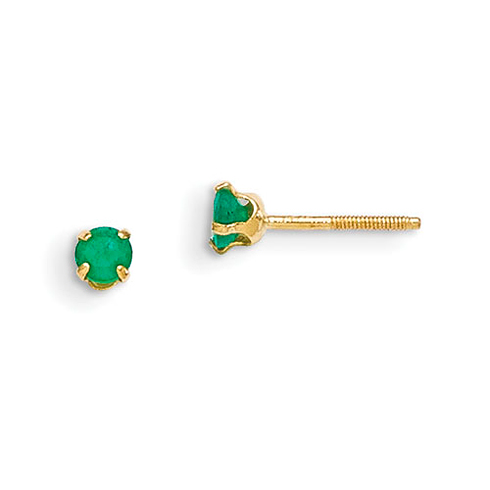 14kt Yellow Gold Madi K 3mm Emerald Earrings