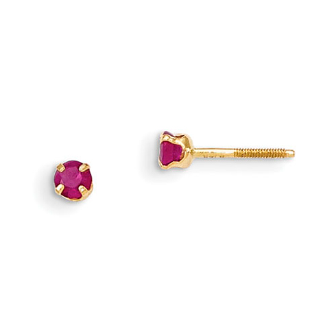 14kt Yellow Gold Madi K 3mm Ruby Stud Earrings